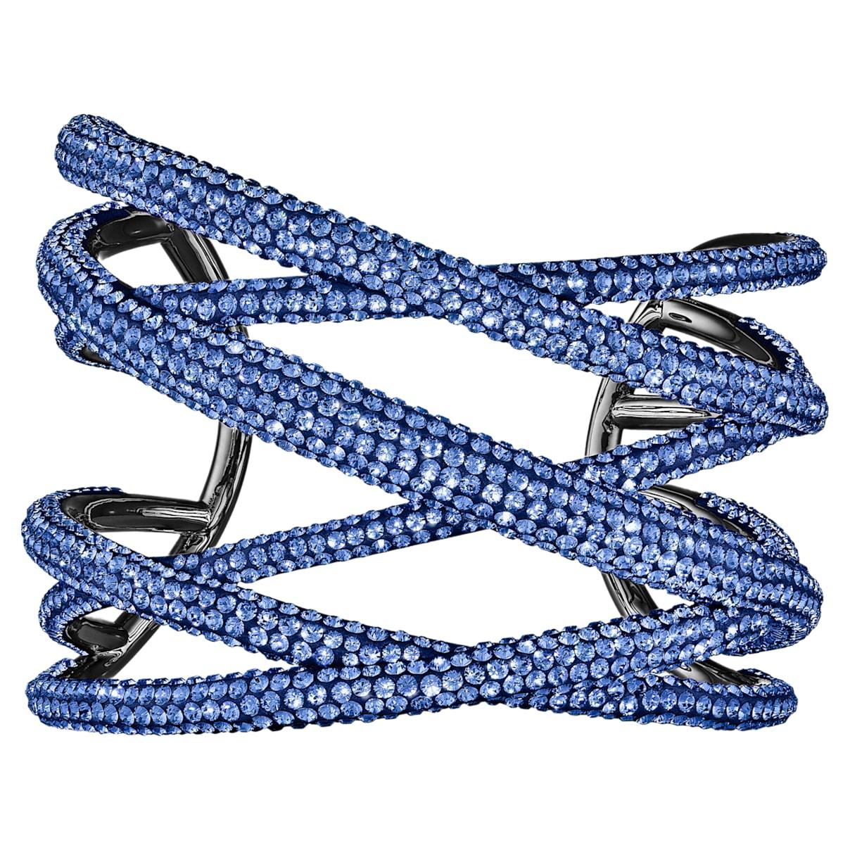 Bracciale rigido Tigris, grande, blu, placcato rutenio