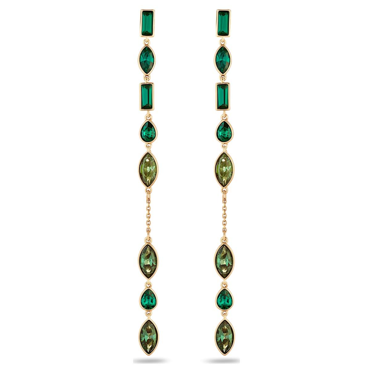 Beautiful Earth by Susan Rockefeller Pierced Earring Jackets, Long, Green, Gold-tone plated