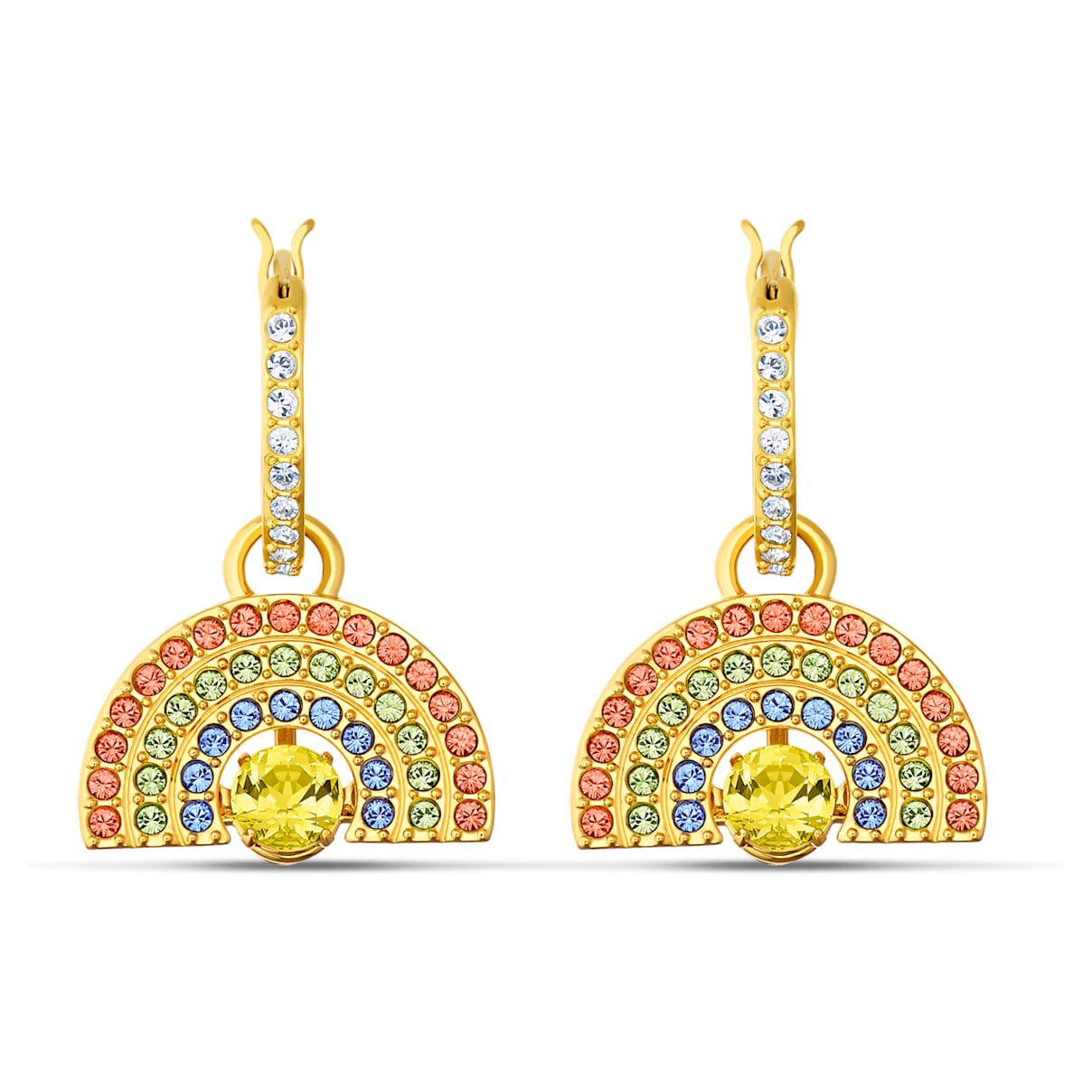 Swarovski Sparkling Dance Rainbow Pierced Earrings Light multi-colored, Gold-tone plated