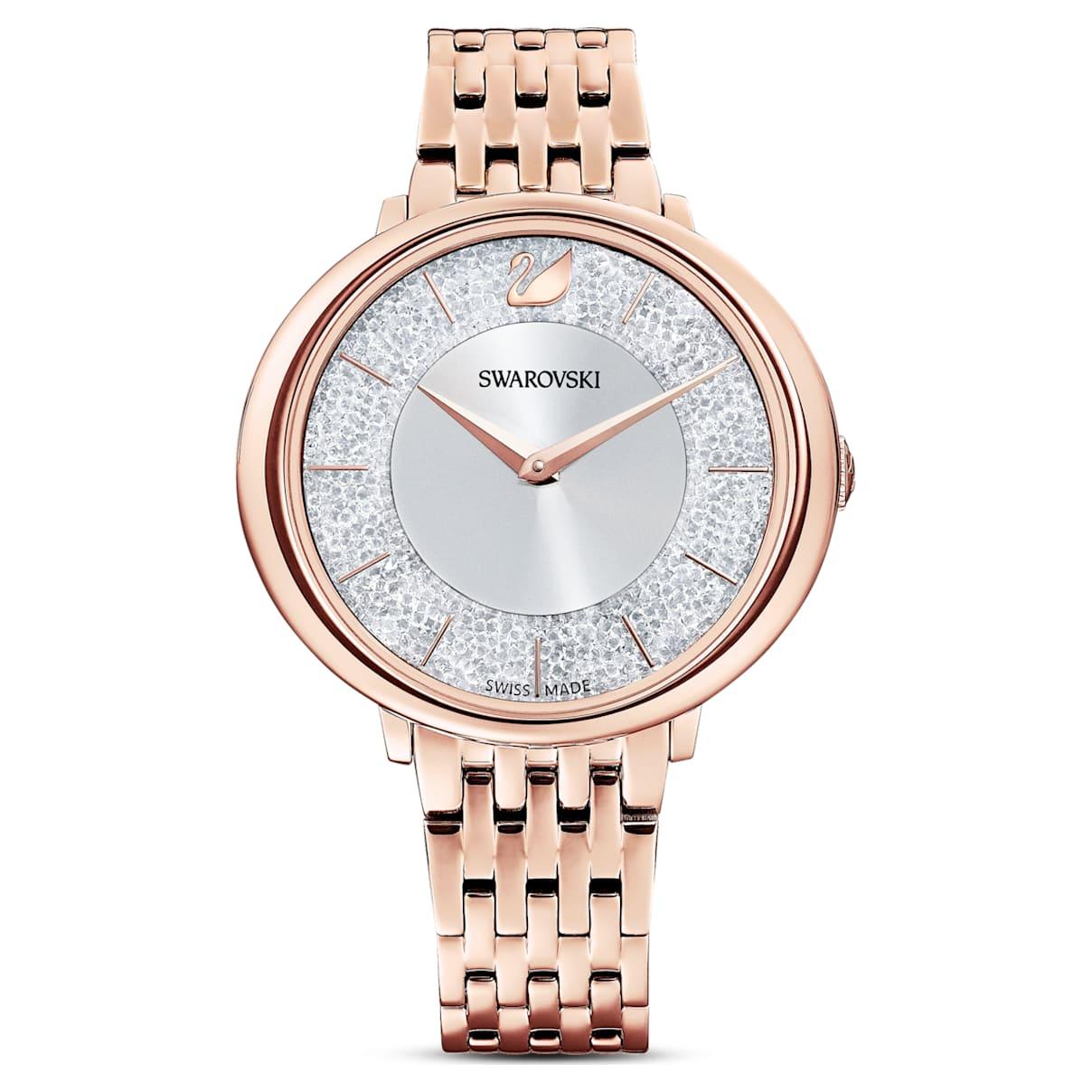 Orologio Crystalline Chic, bracciale di metallo, tono oro rosa, PVD oro rosa