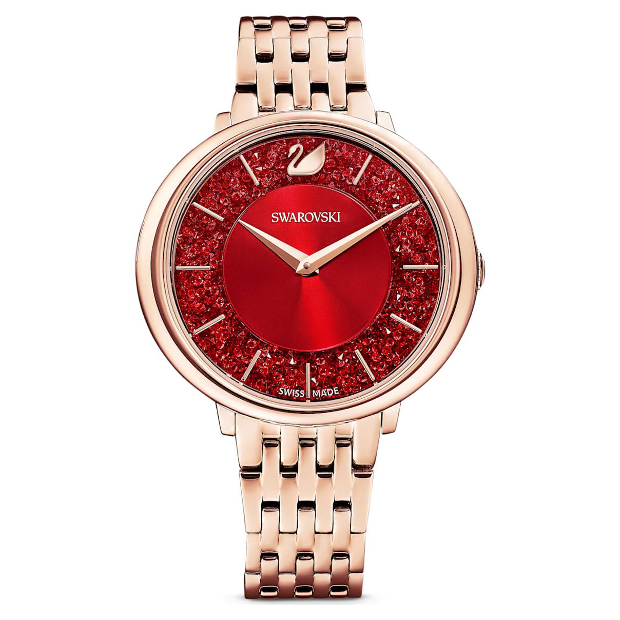 Orologio Crystalline Chic, bracciale di metallo, rosso, PVD oro rosa