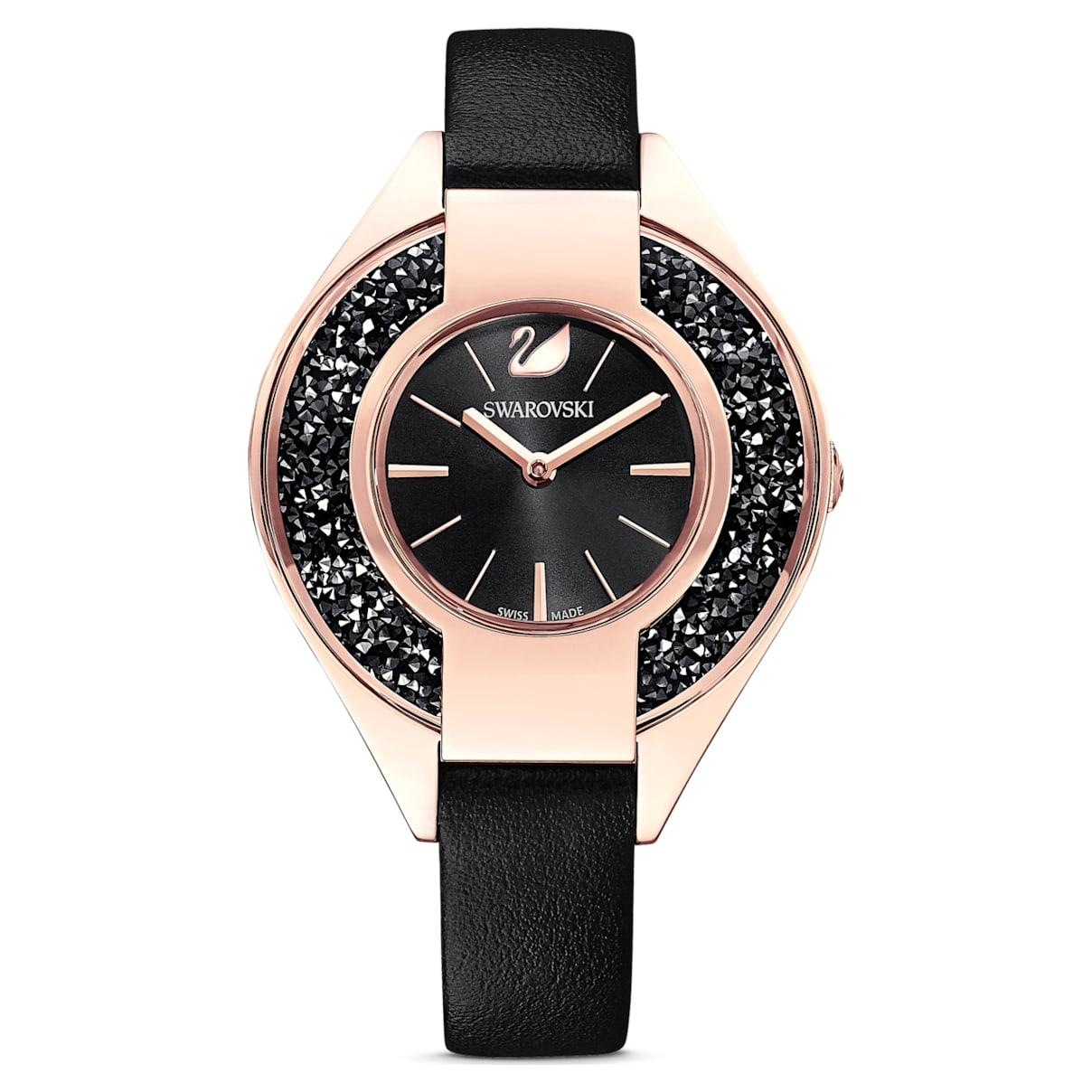 Orologio Crystalline Sporty, cinturino in pelle, nero, PVD oro rosa