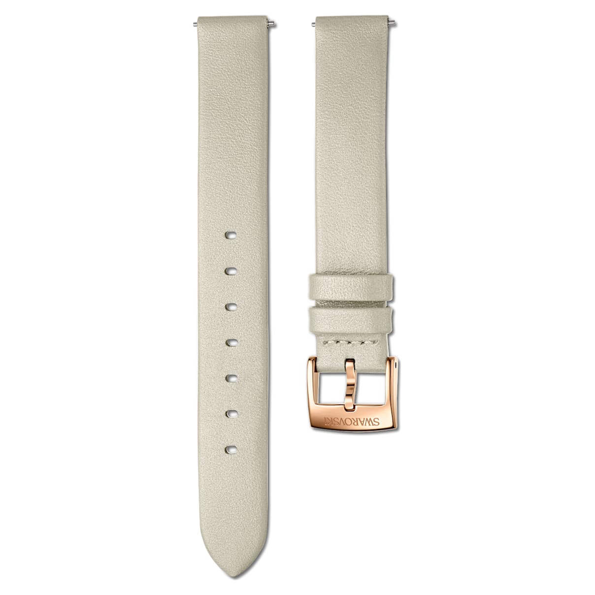 14mm Watch strap, Leather, Taupe, Rose-gold tone PVD