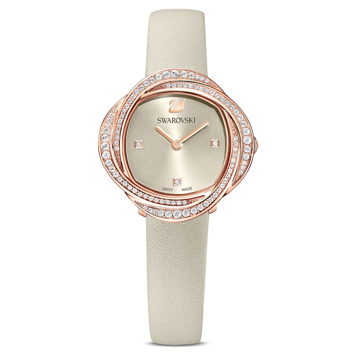 Orologio Crystal Flower, cinturino in pelle, grigio, PVD oro rosa