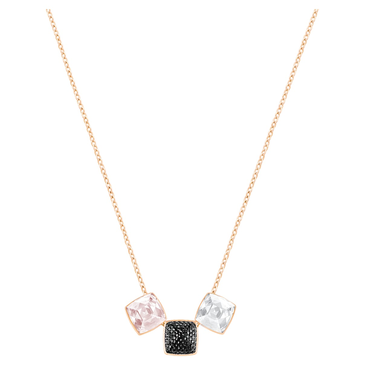 Glance Necklace, Light multi-colored, Rose-gold tone plated