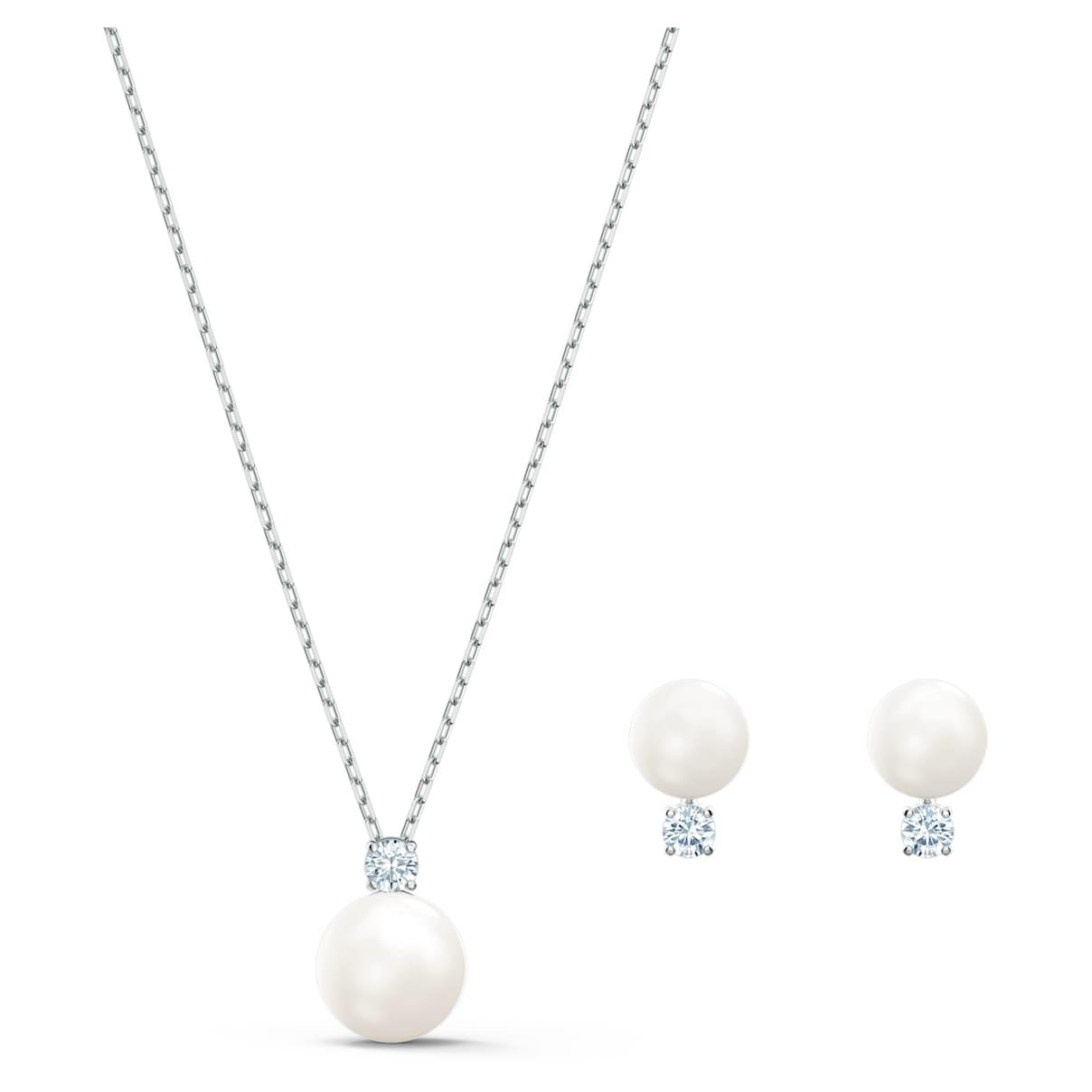 Set Treasure Pearl, bianco, placcato rodio