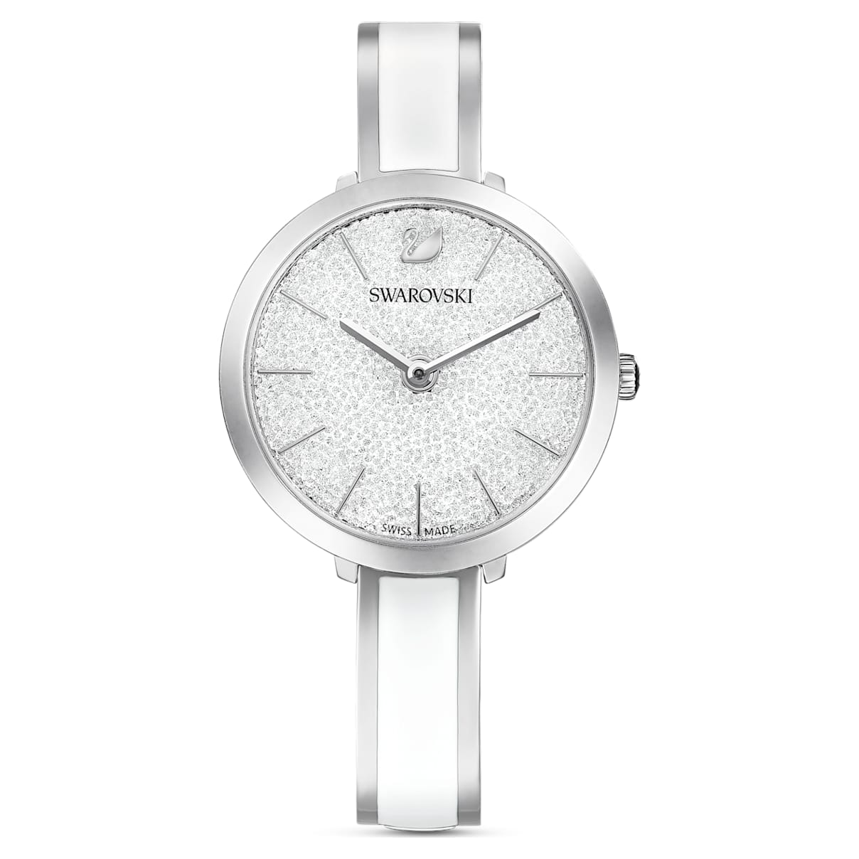 Orologio Crystalline Delight, bracciale di metallo, bianco, acciaio inossidabile