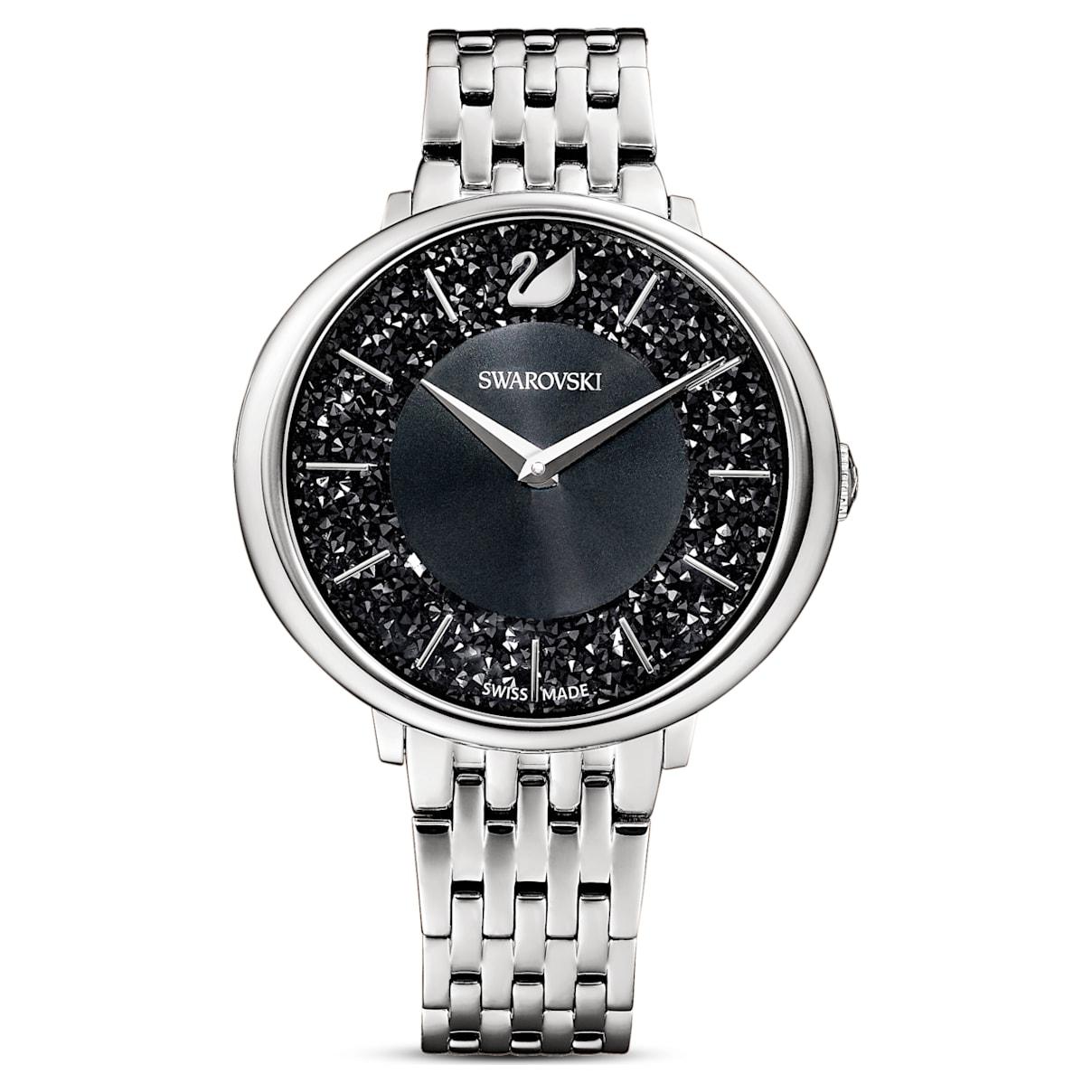 Orologio Crystalline Chic, bracciale di metallo, nero, acciaio inossidabile