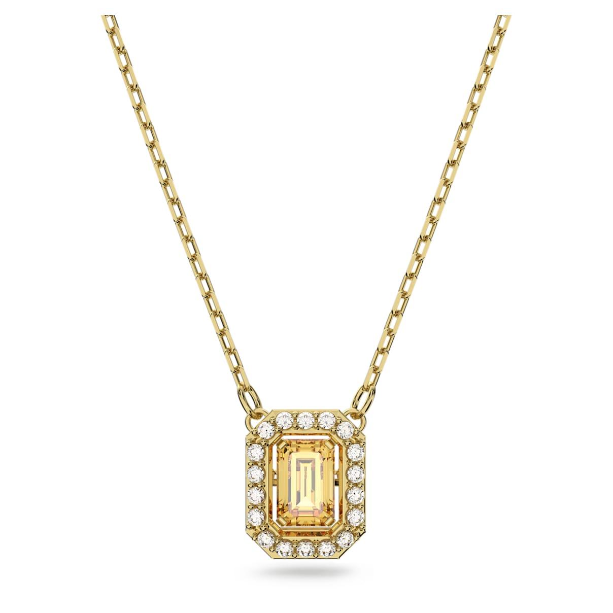 Millenia necklace, Square Swarovski zirconia, Yellow, Gold-tone plated