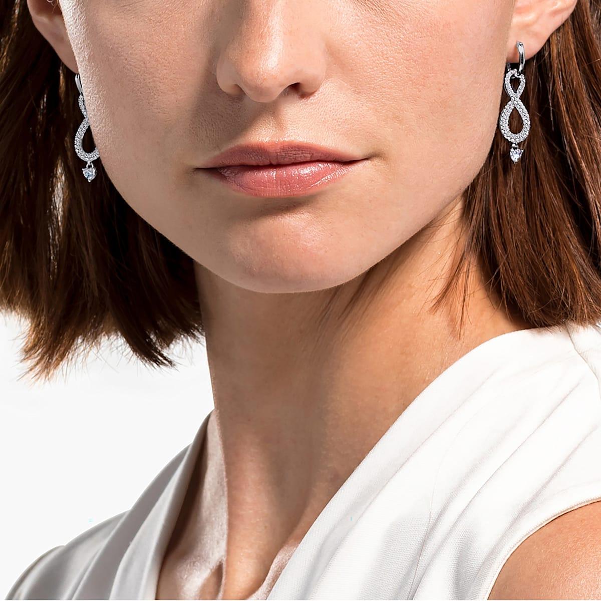 Swarovski Infinity Pierced Earrings, White, Rhodium plated - Swarovski, 5520578