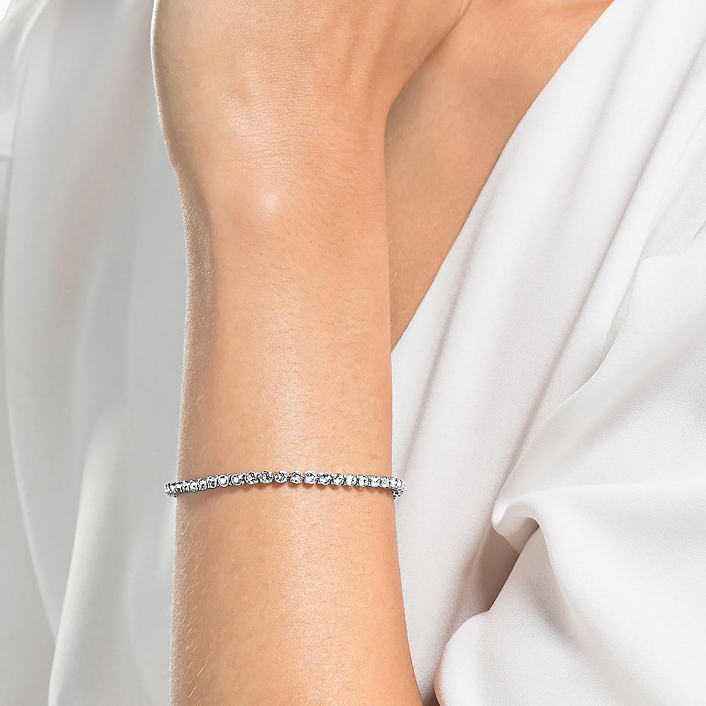 Emily bracelet, White, Rhodium plated