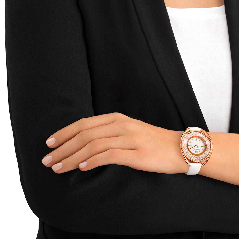 Montre Crystalline Oval, Bracelet en cuir, blanc, PVD doré rose