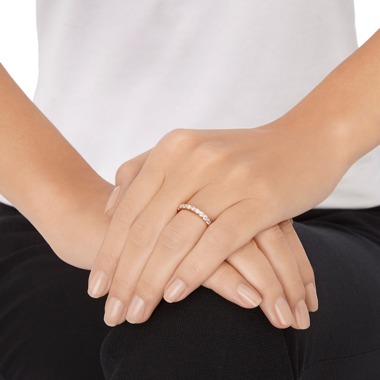Vittore XL Ring, White, Rose-gold tone plated