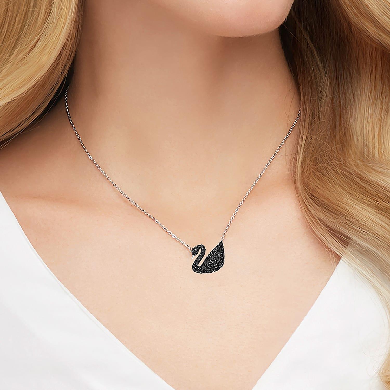 Pendentif Swarovski Iconic Swan, noir, Métal rhodié