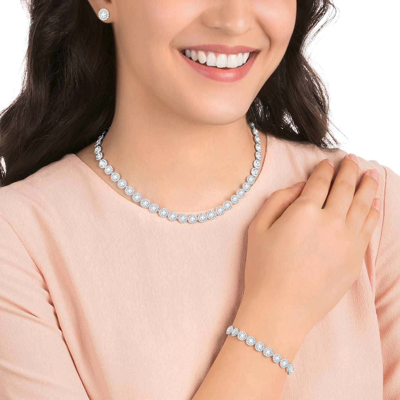 Angelic Necklace Set, White, Rhodium plated