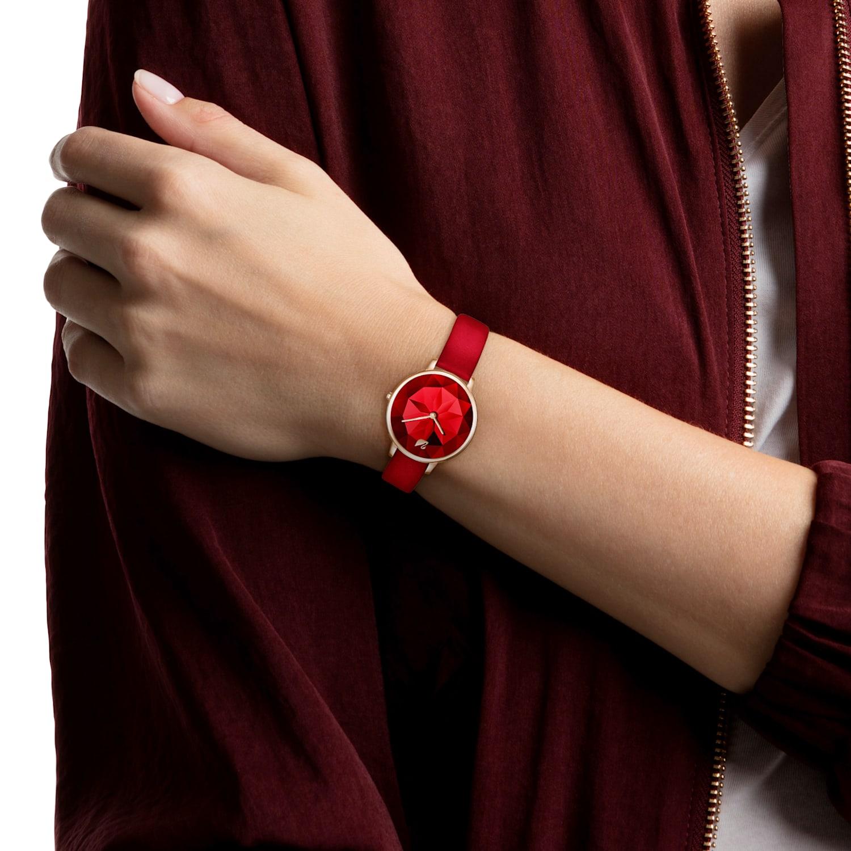Crystal Lake Watch Leather Strap Red Rose Gold Tone Pvd Swarovski Com