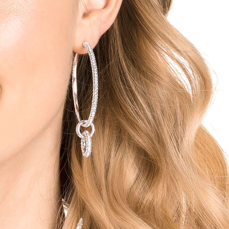 Parure de boucles d'oreilles Stone, blanc, Métal rhodié