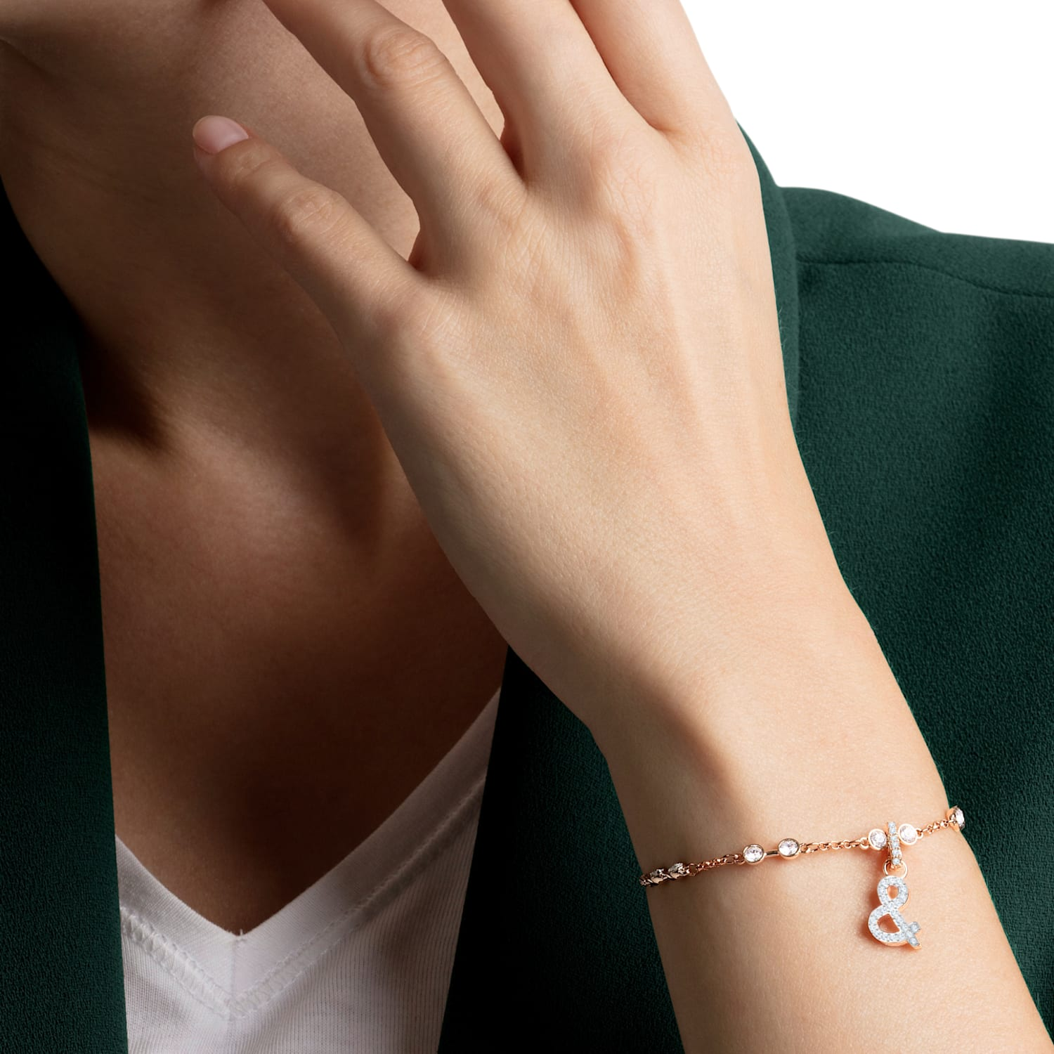 Swarovski Remix Collection & Charm, White, Rose-gold tone plated