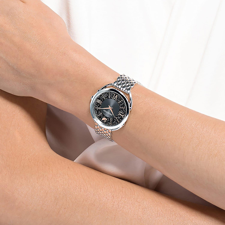 Crystalline Glam Watch, Metal bracelet, Gray, Stainless steel