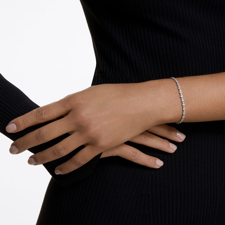 Subtle Bracelet, White, Rhodium plated