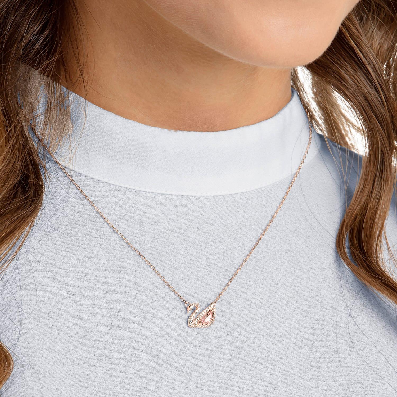 soporte Rayo Romper  Dazzling Swan Necklace, Multi-colored, Rose-gold tone plated | Swarovski.com