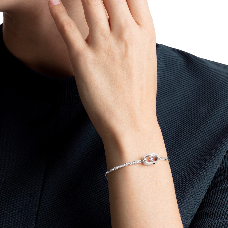 Sparkling Dance Bracelet, Blue, Rhodium plated   Swarovski.com