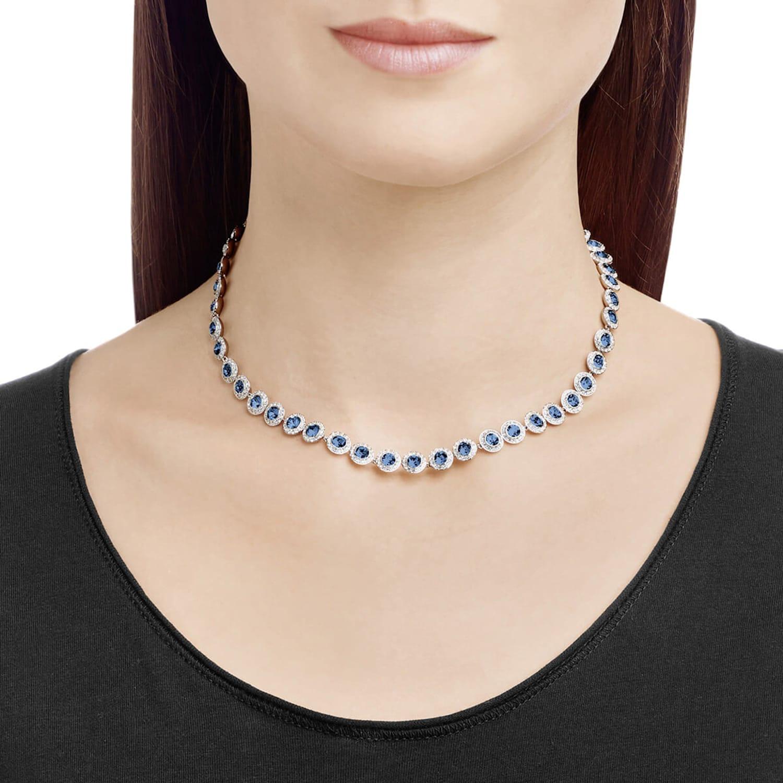 Collier Angelic, bleu, métal rhodié | Swarovski.com