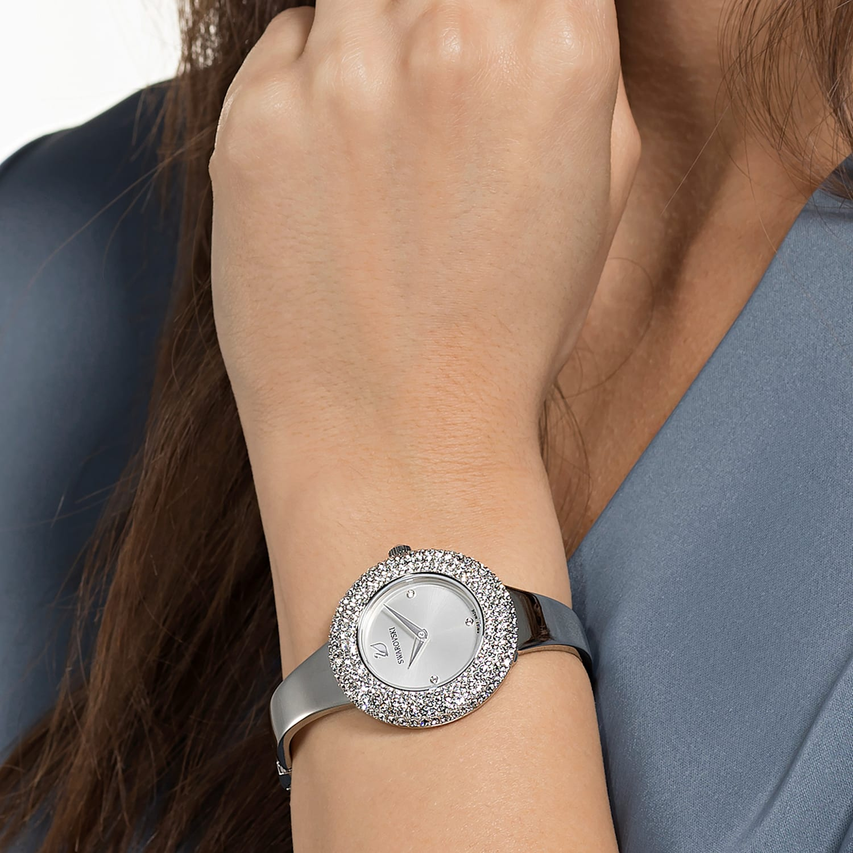 Crystal Rose Watch, Metal bracelet, Silver tone, Stainless steel