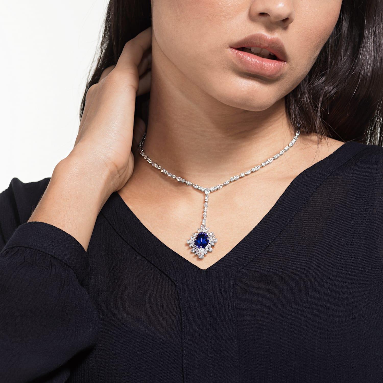 libertad Restricción regular  Palace Y Necklace, Blue, Rhodium plated | Swarovski.com