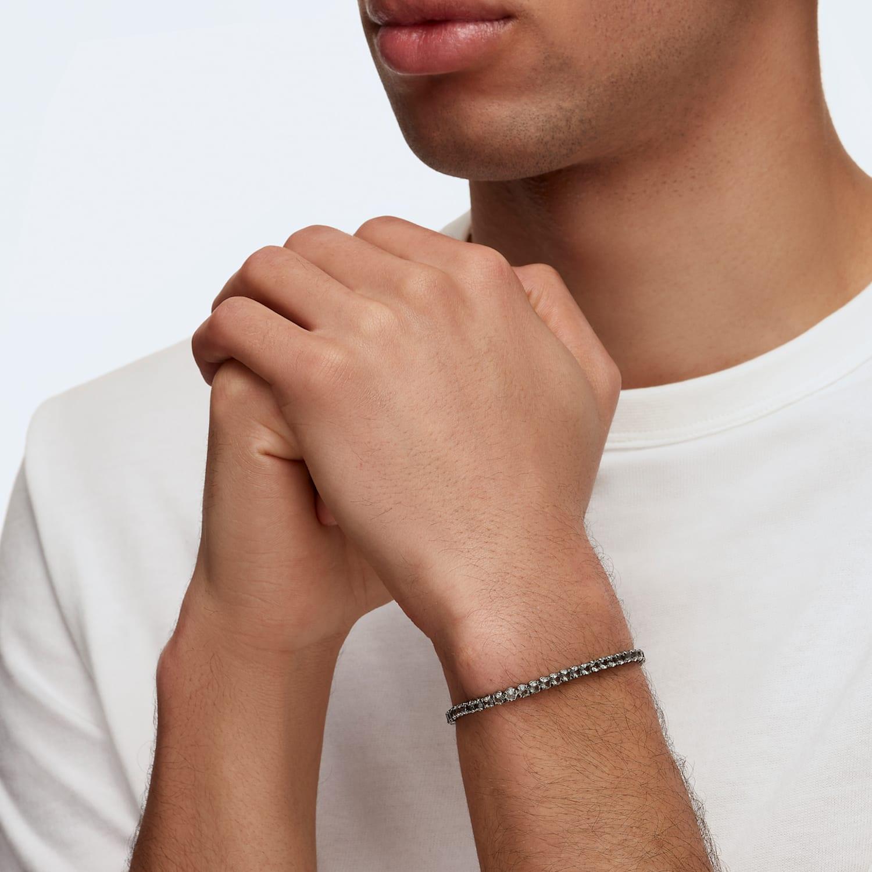 Tennis Deluxe Bracelet, Black, Ruthenium plated