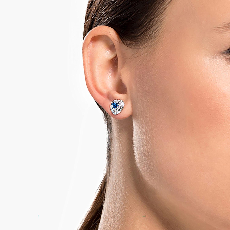 Rachel Rhodium Plaqué 10 mm Irisé Bleu Perle Boucles d/'oreilles 1398