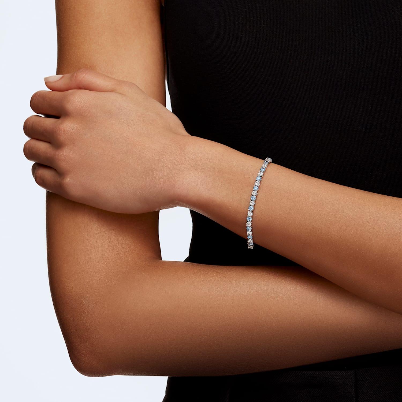 Bracelet Tennis Deluxe, bleu, métal rhodié