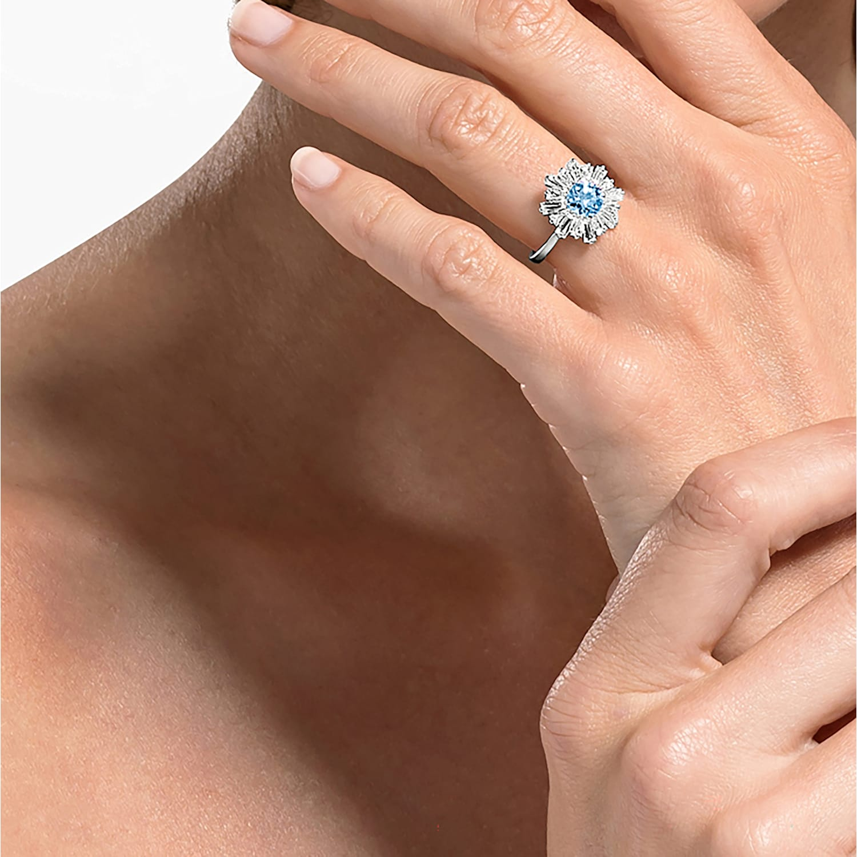 Bague Sunshine, bleu, métal rhodié