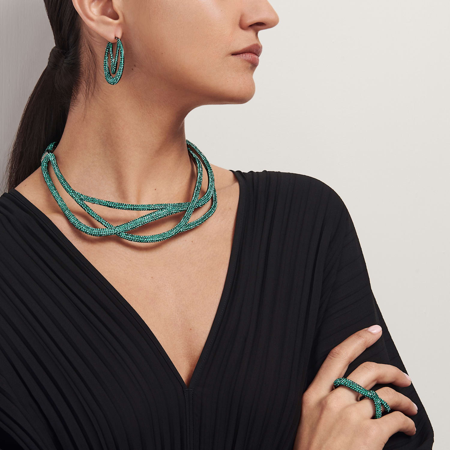Tigris Double Ring, Green, Ruthenium plated