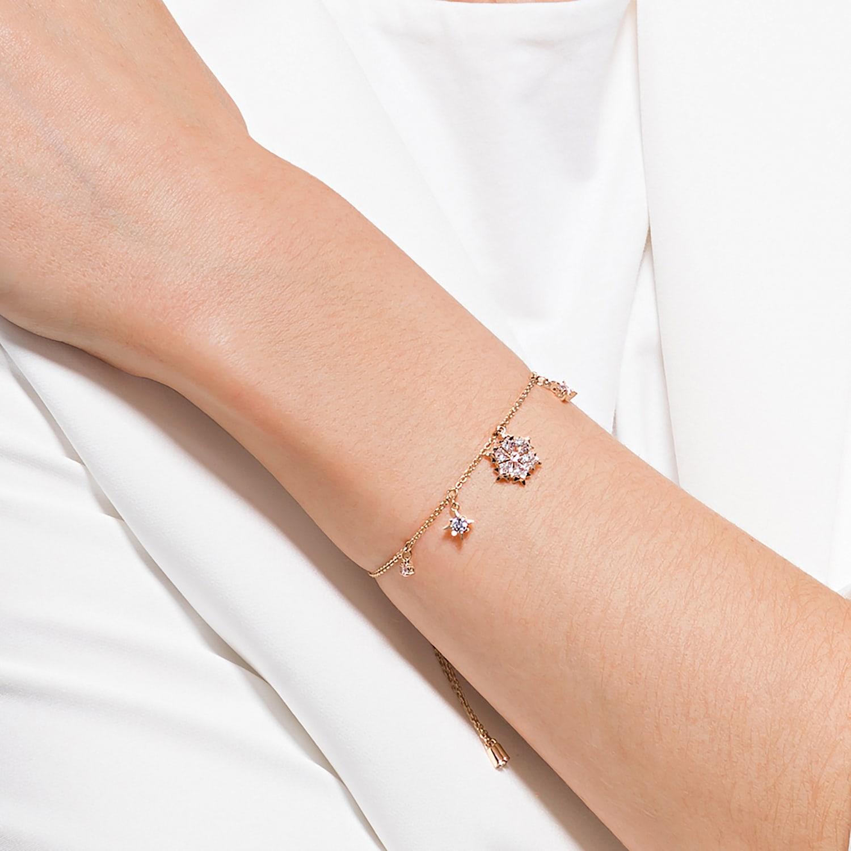 Bracelet Magic, blanc, métal doré rose