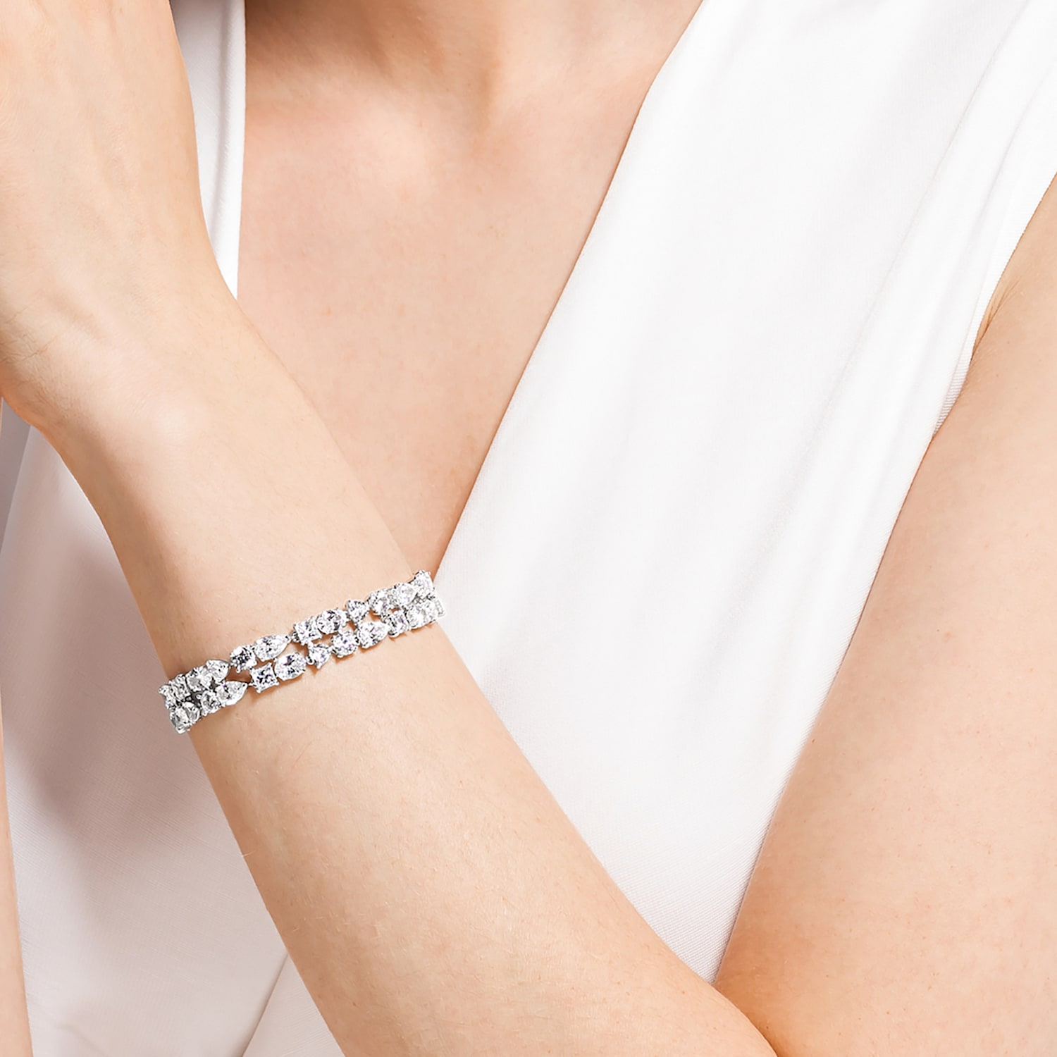Tennis Deluxe Mixed Bracelet, White, Rhodium plated
