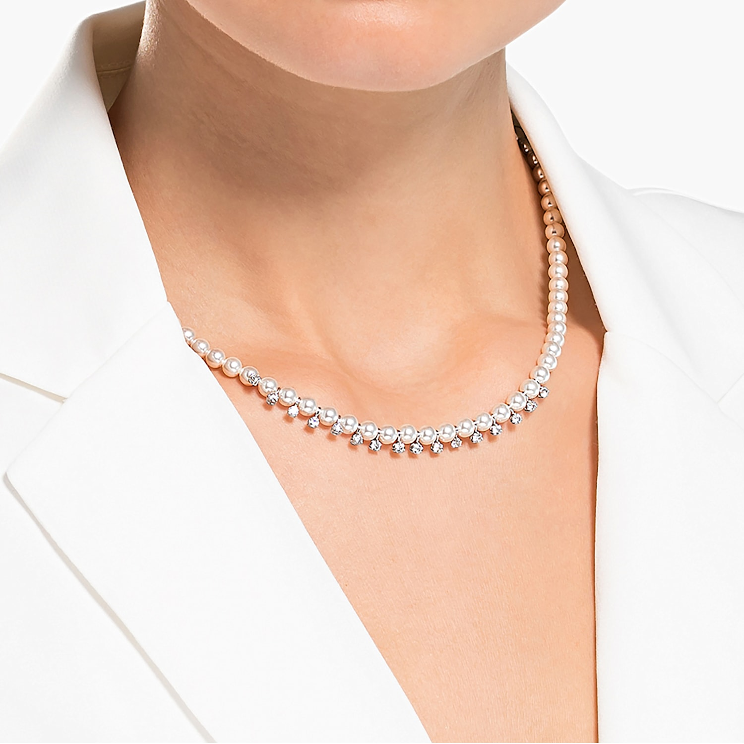 Sterling Silver Chain Black Rhodium Plated Mothers Day Gift 16 in Simple Pearl Necklace Tri-Pearl Necklace June Birthstone Jewelry