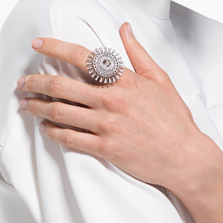 Bague Swarovski Sparkling Dance Dial Up, blanc, métal rhodié