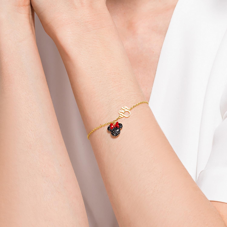 Minnie Bracelet, Black, Gold-tone plated | Swarovski.com