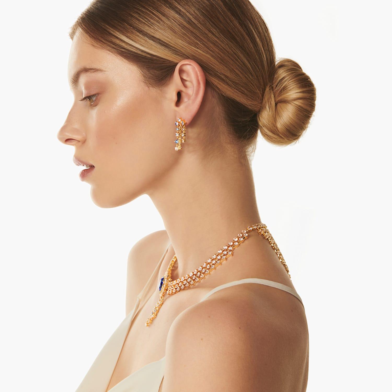 Penelope Cruz Icons Of Film Chandelier Pierced Earrings Blue Gold Tone Plated