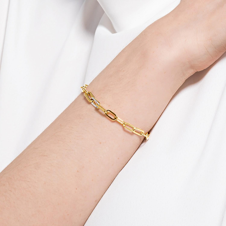 Bracelet The Elements Chain, blanc, métal doré | Swarovski.com
