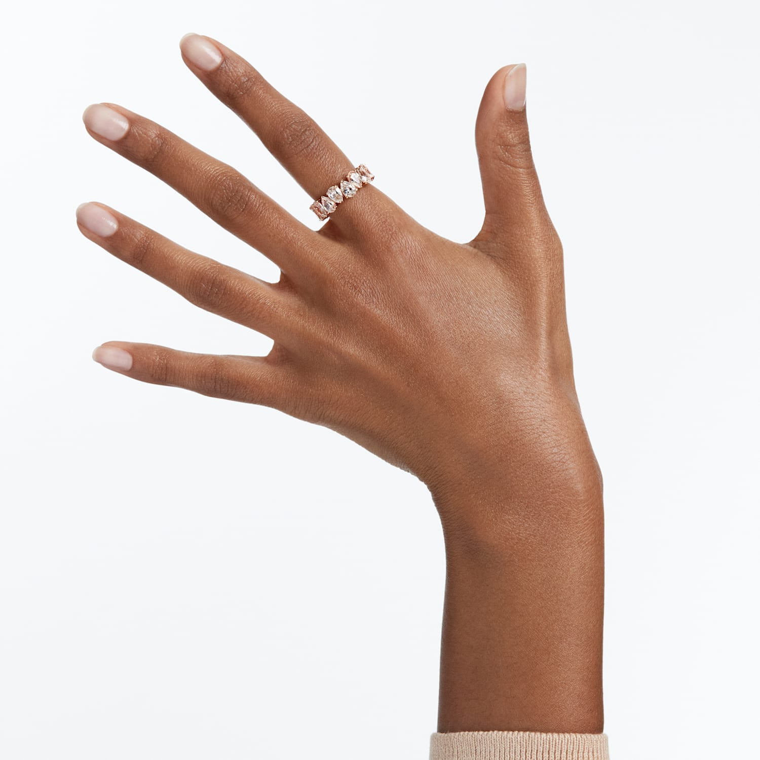 Vittore Pear Ring, White, Rose-gold tone plated