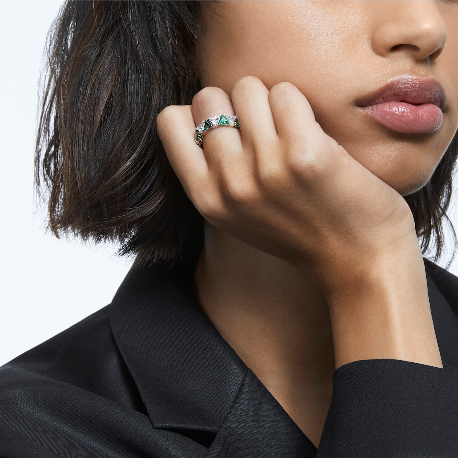 Details about  /Brilliant Top Grade Crystal Fashion Cocktail Black IP Ring TK2281