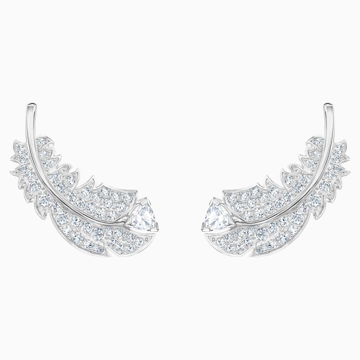 Nice Stud Pierced Earrings, White, Rhodium plated - Swarovski, 5482912