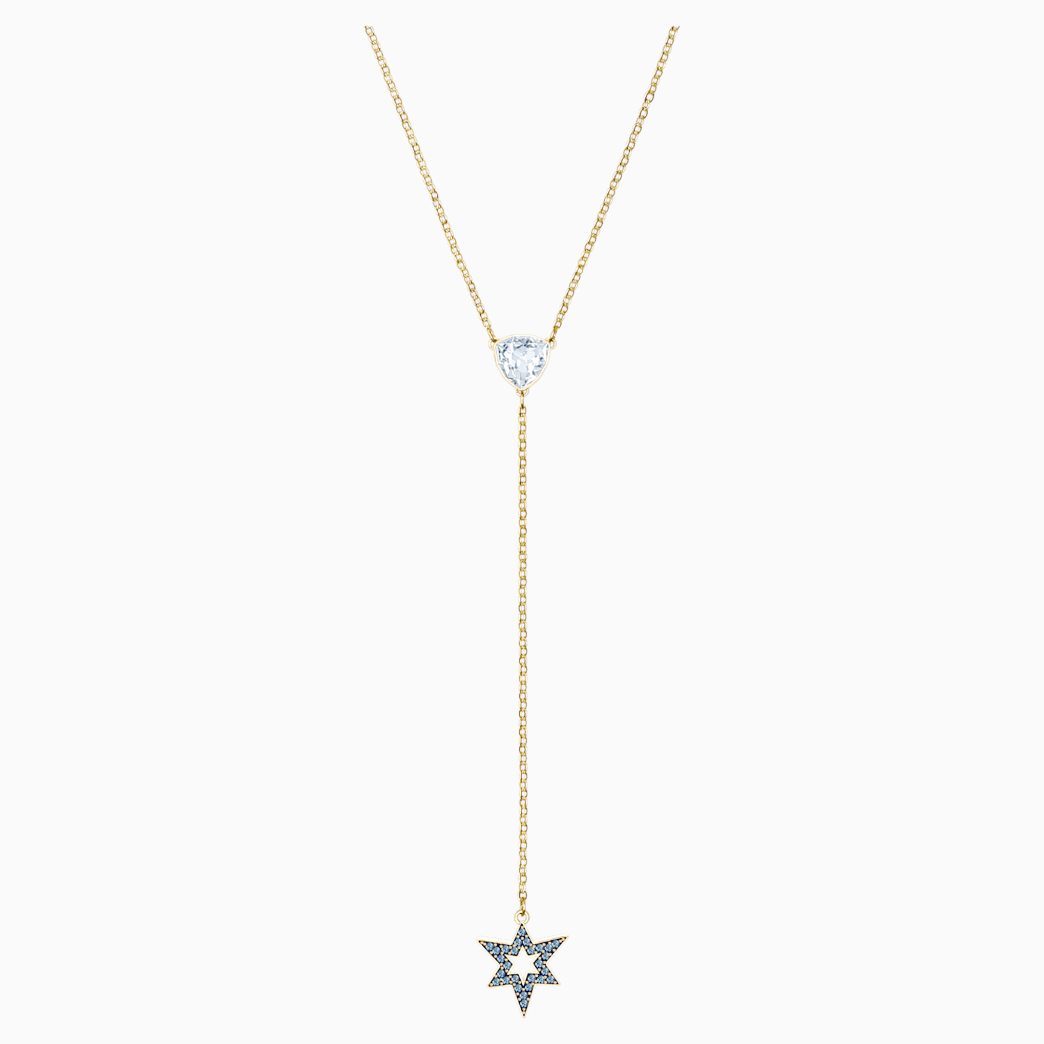 "Summer Sale Blue Diamond Accents Star Pendant Necklace in Gold Over 18/"" Chain"