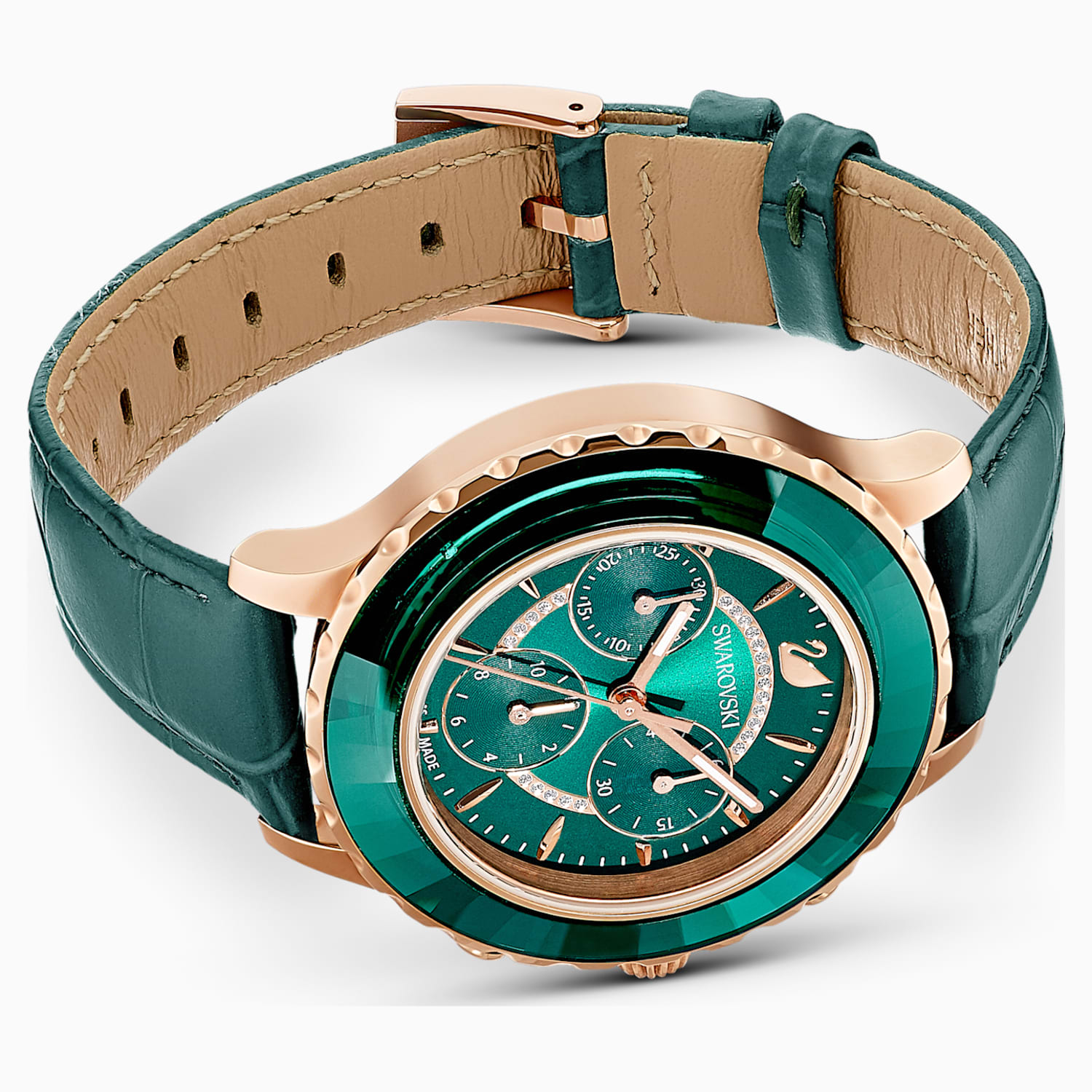 Octea Lux Chrono Watch Leather Strap Green Rose Gold Tone Pvd Swarovski Com