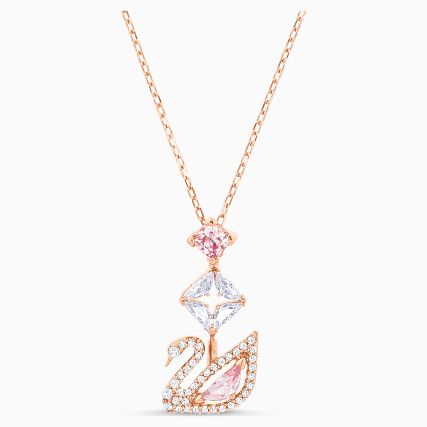 Dazzling Swan Y Necklace Multi Colored Rose Gold Tone Plated
