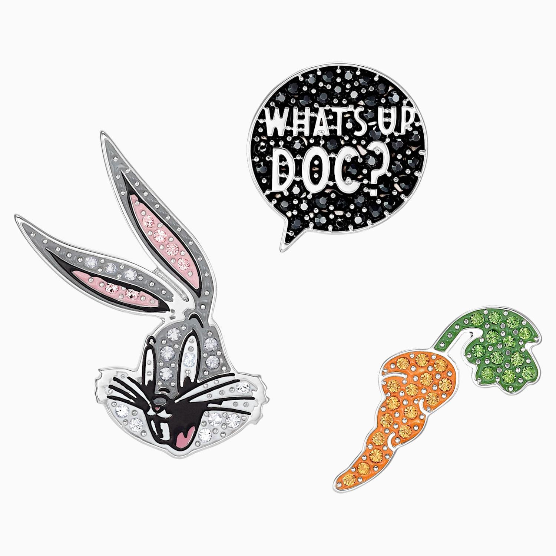 Looney Tunes Bugs Bunny Tie Pin Set Multi Colored Rhodium Plated Swarovski Com