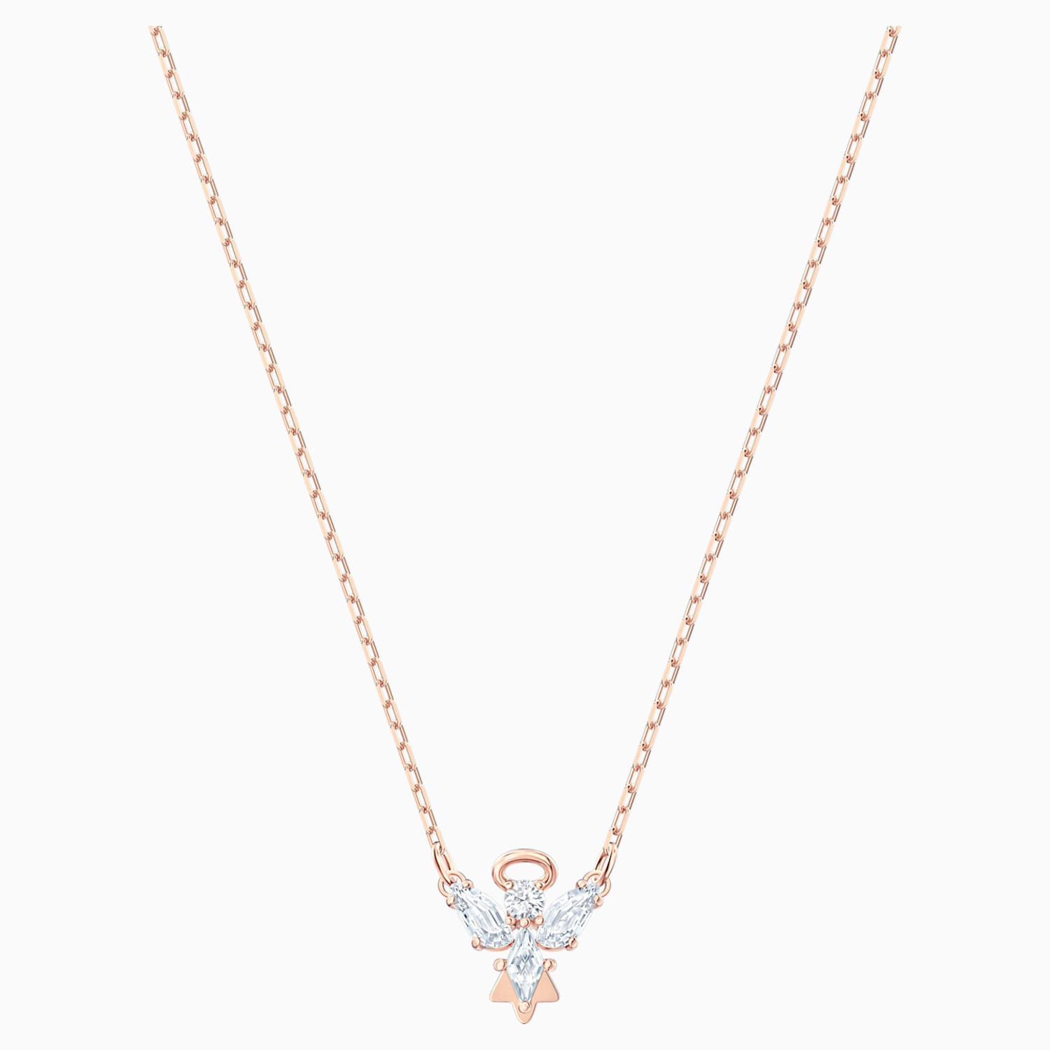 Magic Angel Necklace, White, Rose gold tone plated