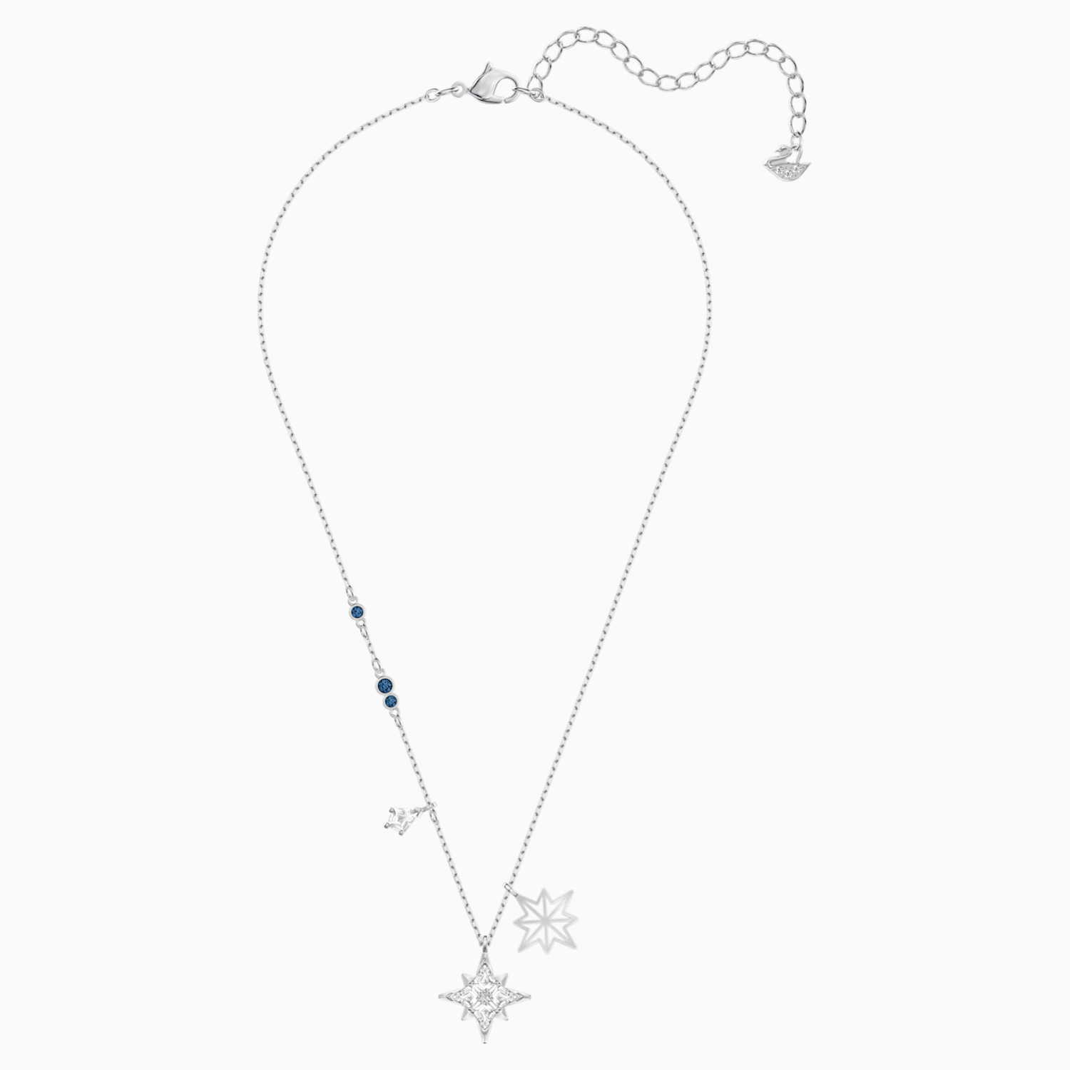 """White Austrian crystal star necklace size 20/""""+2/"""" in rose gold plated"""